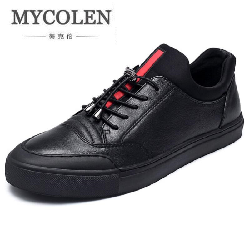 MYCOLEN New Arrival Comfortable Casual Black Shoes Mens Lace-Up Brand Fashion Flat Board Shoes For Men tenis masculino цена
