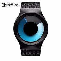 GEEKTHINK Quartz Watches Men Top Luxury Brand Casual Stainless Steel Mesh Band Unisex Watch Clock Male
