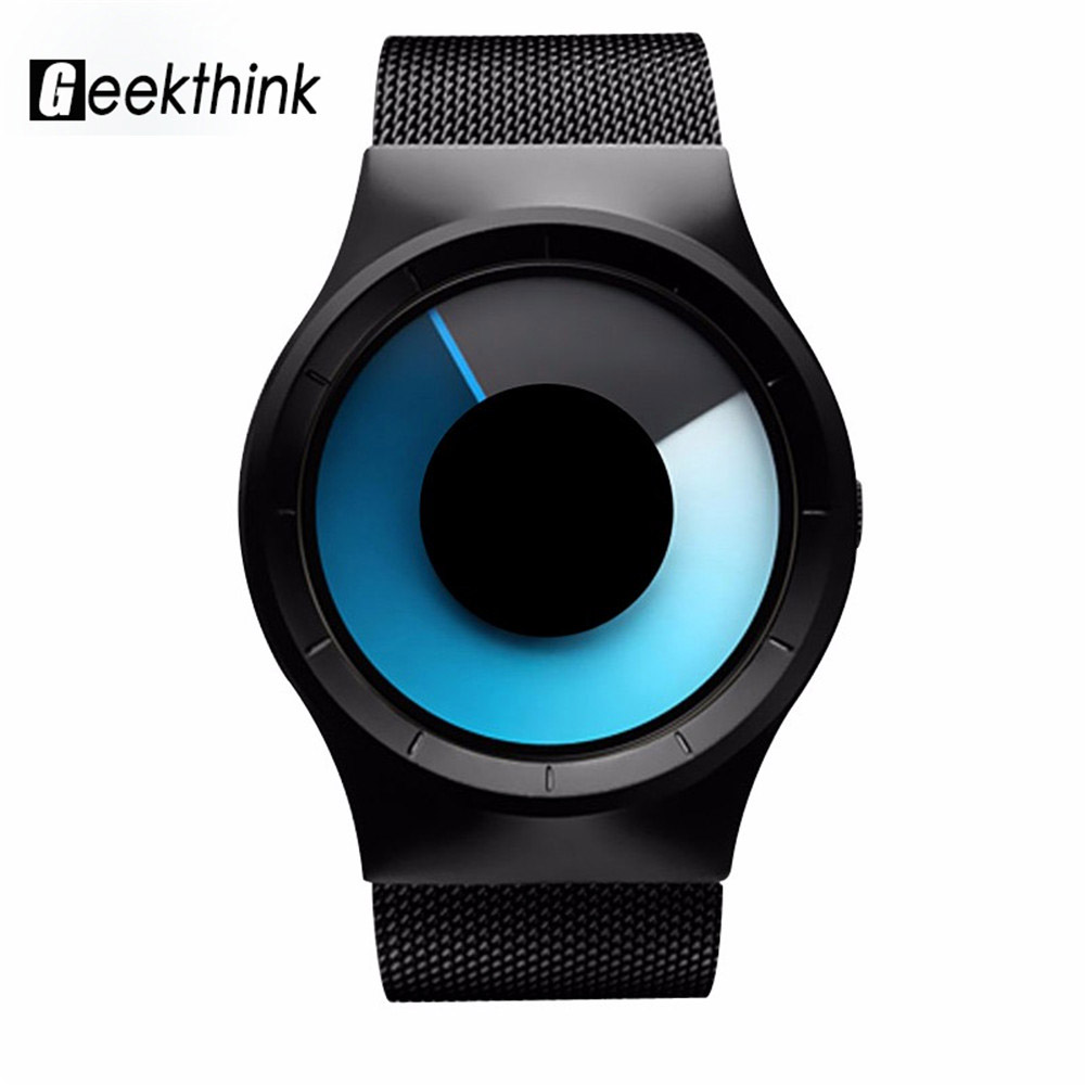 GEEKTHINK Quartz Watches Men Top Luxury Brand Casual Stainless steel Mesh Band Unisex Watch Clock Male female Gentleman gift