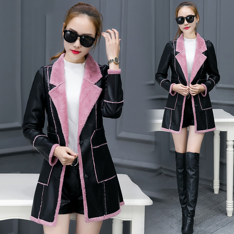 Femmes Taille Laine Manteau Qw720 Longue pink Gray red Spliced Cuir En Pu La Slim Veste D'hiver kaki Plus Pardessus Lambwool Doublure Femme Chaud Manteaux AzE0n