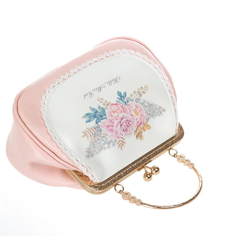 Angelatracy Pink Women 39 s Crossbody Shoulder Bag PU Chain Handbag Flowers Floral Women Mini Bags 2018 Free Shipping bolsos mujer in Top Handle Bags from Luggage amp Bags