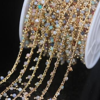 5 metros mezcla piedra gemas naturales 2mm facetadas redondas cuentas Rosario Cadena, Color oro alambre envuelto cadena DIY pulsera cadenas para suéter