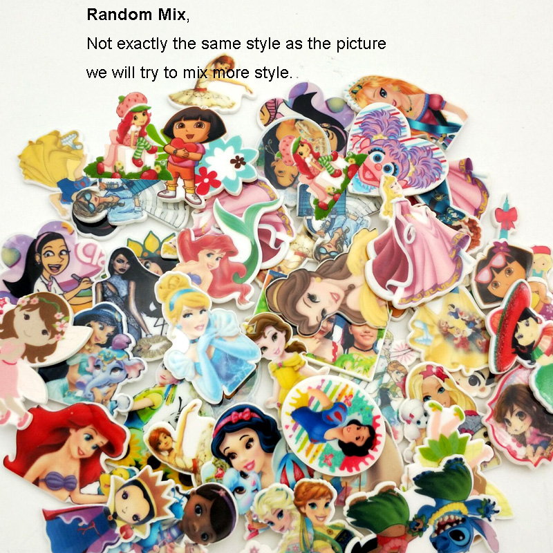 50pcs/100pcs Mixed Assorted Cartoon Character Princess Girl Flatback Resin Planar Cabochon For DIY Craft Embellishments