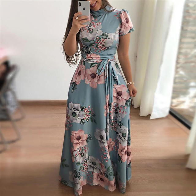 Women Summer Dress 2019 Casual Short Sleeve Long Dress Boho Floral Print Maxi Dress Turtleneck Bandage Elegant Dresses Vestido 2