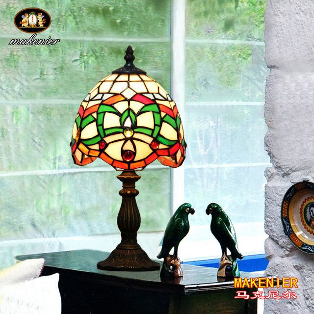 Makenier Vintage Tiffany Style Stained Glass Bedroom Bedside Corner Table  Desk Green Stripe Small Lamp,