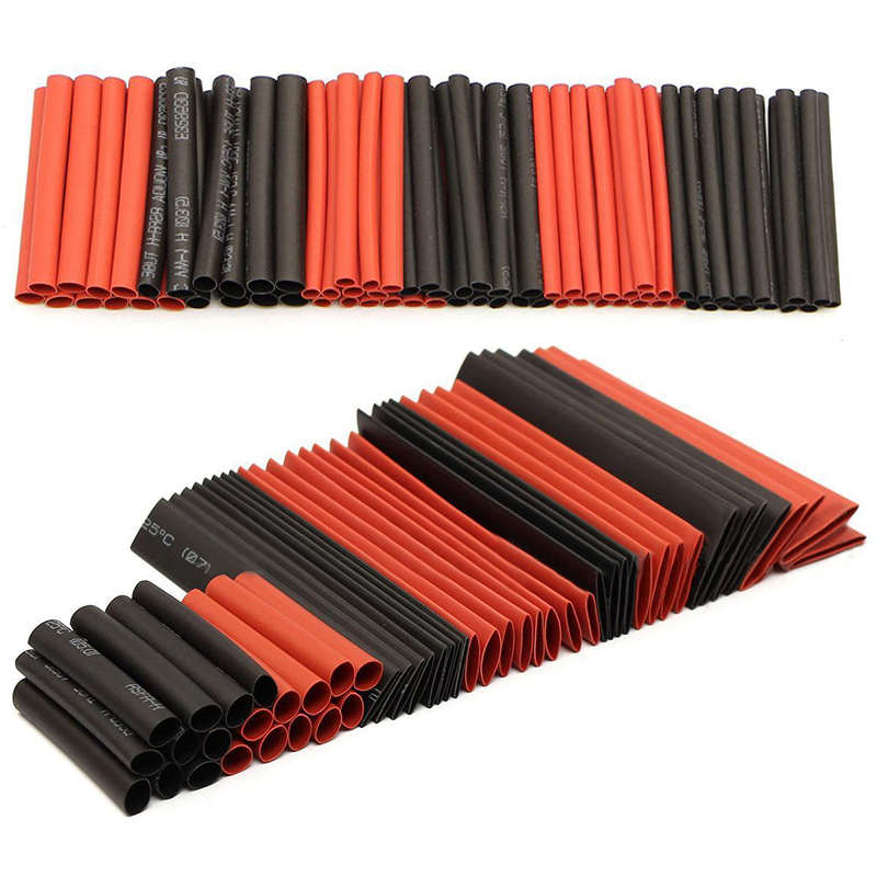 127pcs 2:1 Polyolefin Heat Shrink Tubing Tube Sleeving Wrap Wire Cable Assortment Kit Black Red цена