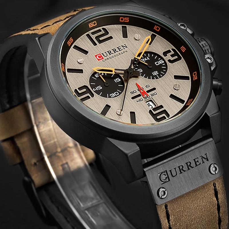 Nuevos relojes de pulsera de cuarzo para hombre de lujo de marca CURREN 2018, relojes deportivos de cuero para hombre, de fecha militar, reloj Masculino