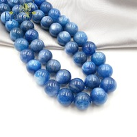 Lii Ji Gemstone Blue Cat Eye's Kyanite 12mm Loose Beads Approx 39cm For DIY Jewelry Marking Necklace Or Bracelet