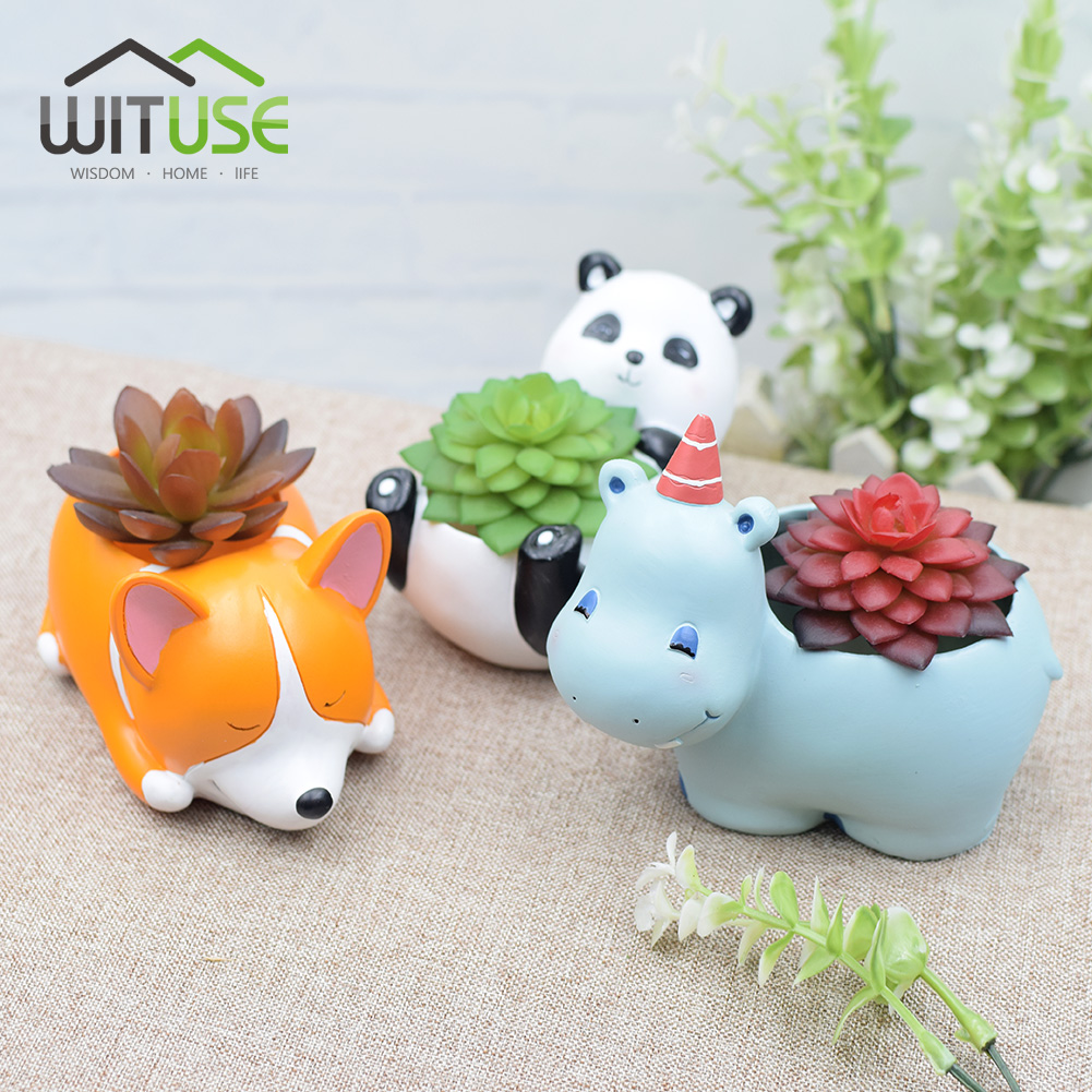 WITUSE Creative Resin 17 Planter Pots Flowerpot Kawaii Corgi Whale Garden Succulent Planter Bonsai Crafts Home Yard Decor Gifts