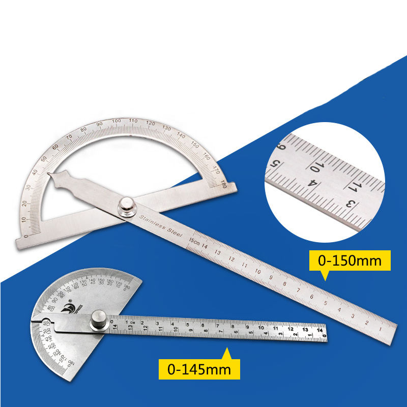 Protractor Angle Ruler Gauge Stainless Steel Angle Gauge Square 180 Degree Semicircle 14cm/15CM Woodworking Square