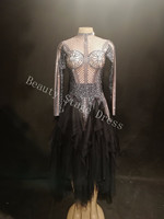 Female Bar See through Dress Costumes Bodysuit Black Jumpsuit Singer Stage Show For Nightclub DJ Party Prom Jazz Festival Outfit