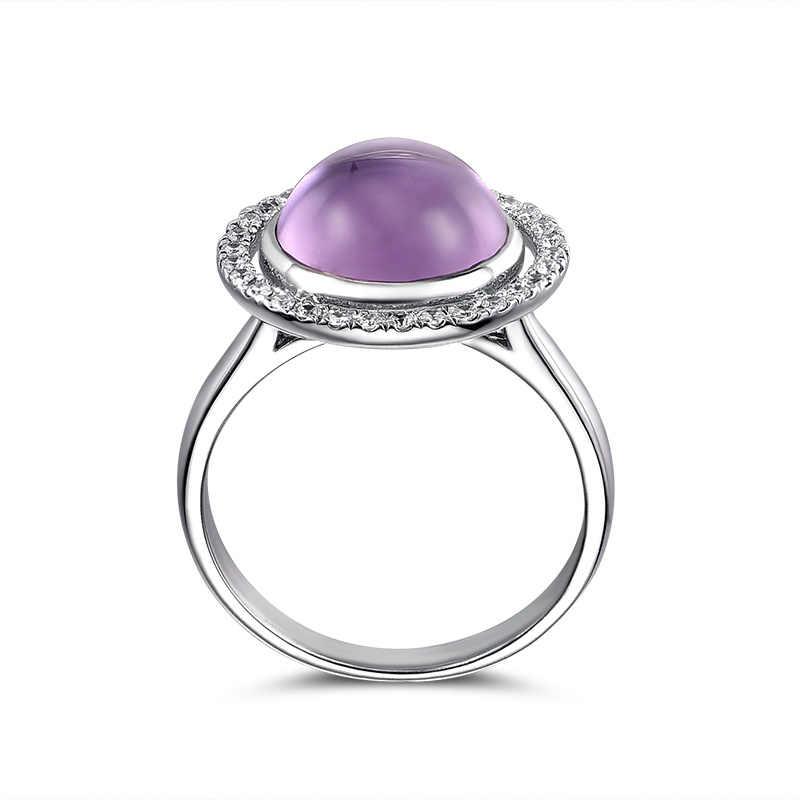 L & Цзуань круглой огранки натуральный бразильский кольцо с аметистовым камнем для женщин в 925 пробы серебристо белый инкрустированный цирконами ювелирные украшения кольцо