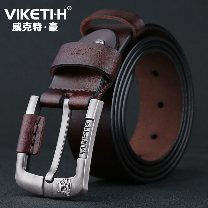 Mens Unique Design Top Quality Solid Cow Genuine Leather   Belts   Male Accessories Simple Pin Buckle   Belt   for Men