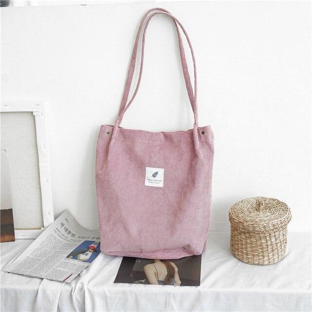 Mara s Dream High Capacity Women Corduroy Tote Ladies Casual Solid Color Shoulder Bag Foldable Reusable Women Shopping Beach Bag
