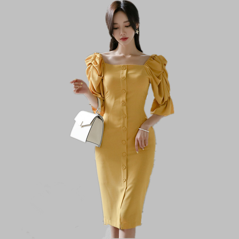 HAMALIEL New 2019 Summer Korean Yellow Dress Women Single Breasted Bodycon Puff Sleeve Pencil Dress Slim Square Collar Dress