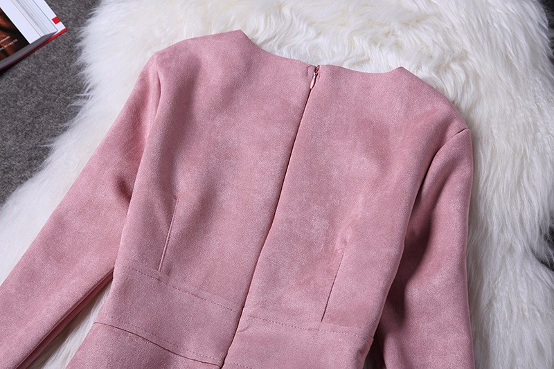O-Neck Long Sleeve Suede Mini Dress 12