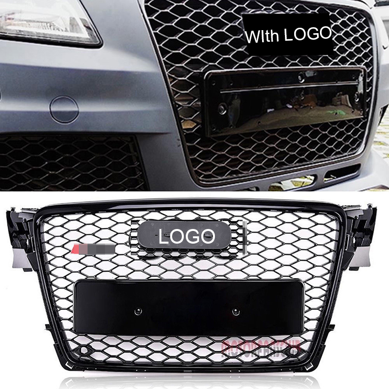 Car Racing Grille For Audi A4 B8 Grill 2009-2012 RS4 Style Sedan/ Convertible Gloss Black Chrome Radiator Bumper Mesh Honeycomb