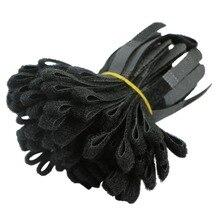 100 шт черный кабель Шнур галстук ремень крюк и петля Липкая лента намотка провода аккуратный Органайзер держатель для наушников шнур протектор