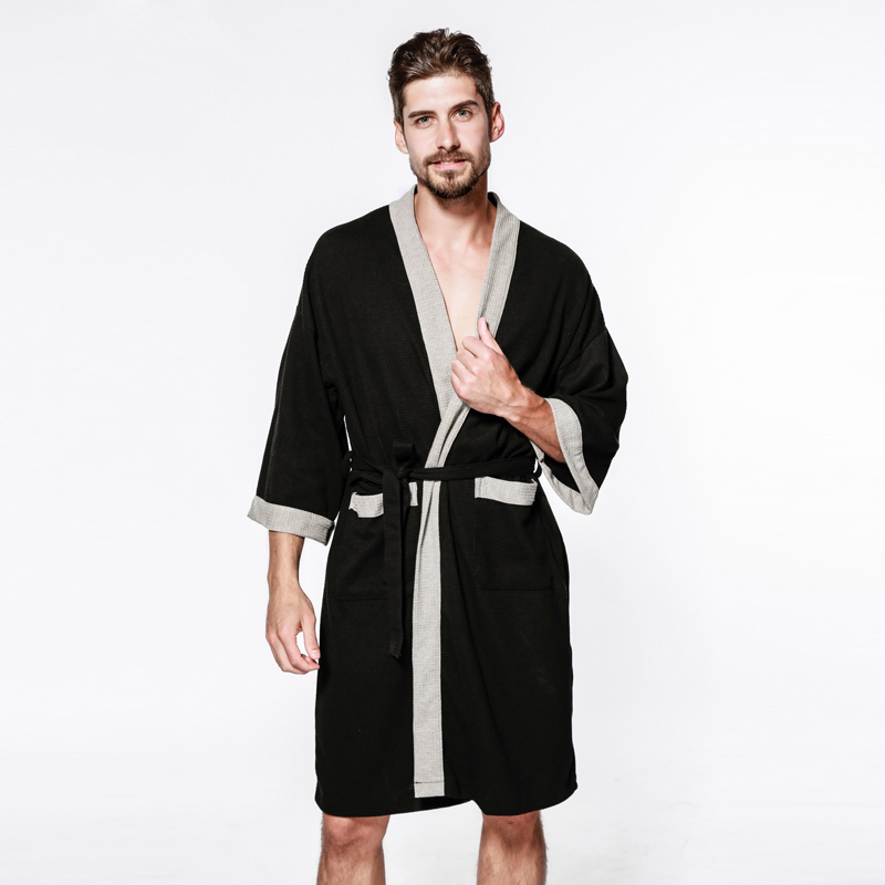 Cotton Kimono Collar Robe White Waffle Style Thick Warm Spa//Hot Tub Spa /& Hotel
