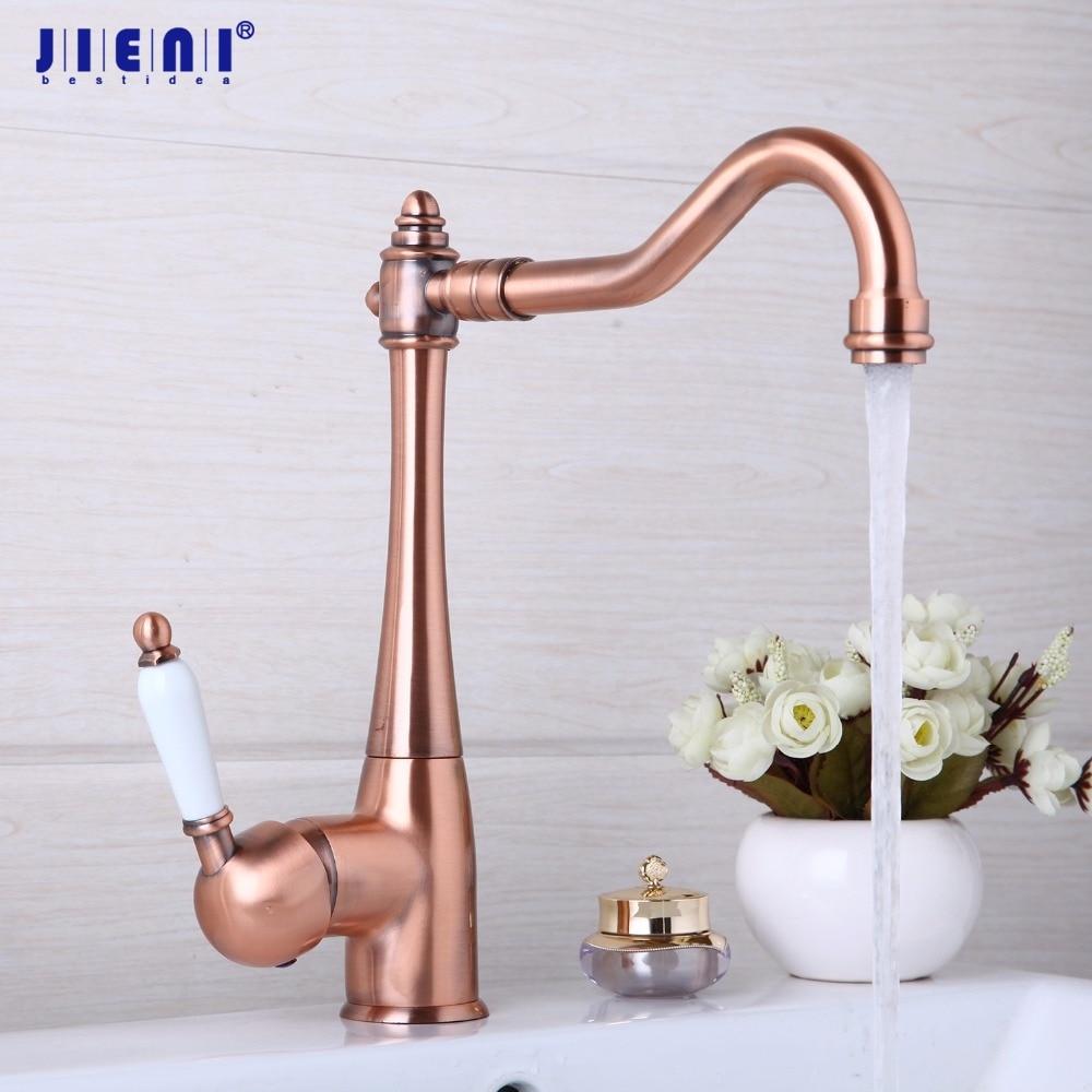 JIENI Antique Copper Swivel Kitchen Sink bathroom basin Mixer Tap Kitchen Faucet Ceramic Handle