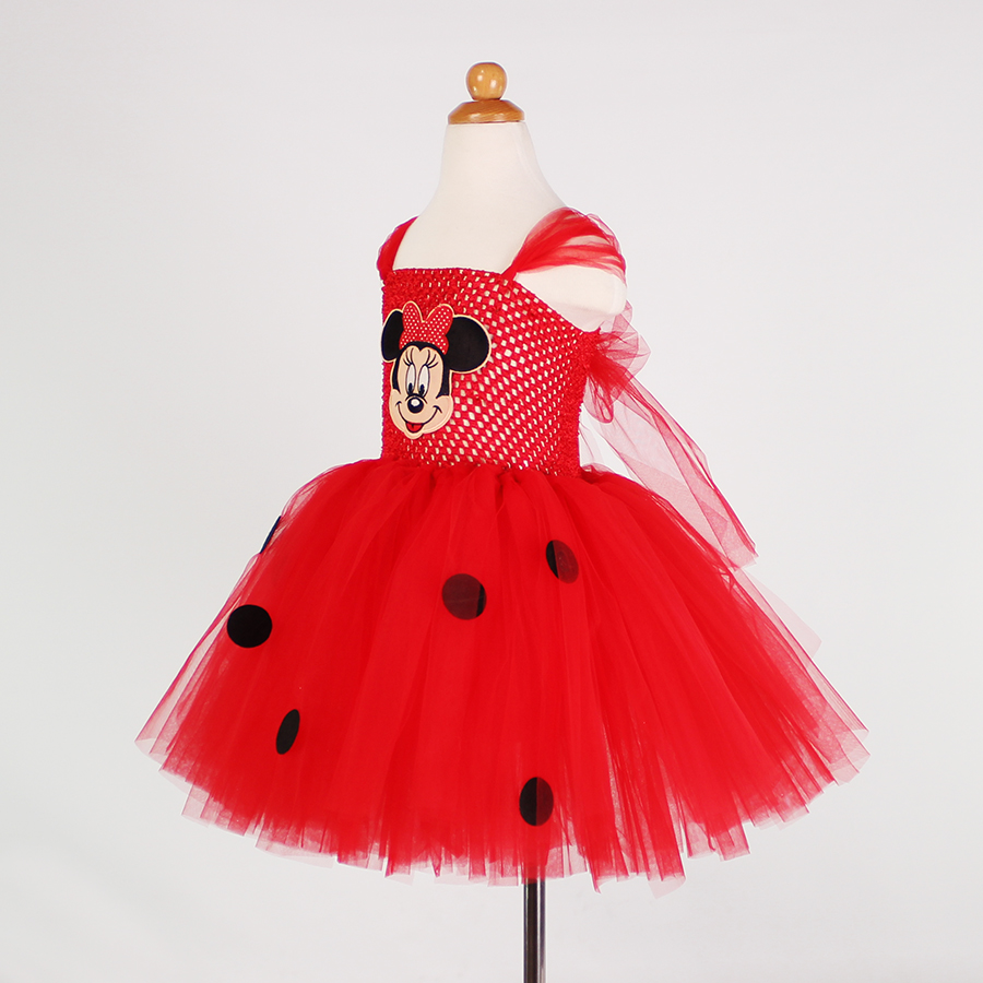 1e1cce0003f Baby Girls Cartoon Vestido Minnie Dress Red Pink Kids Girl Tutu Dress Cute  Tulle Party Birthday Dress Children Christmas Costume