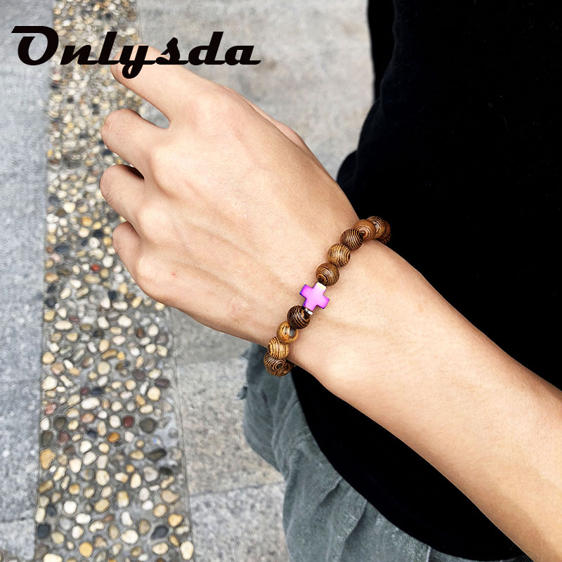 Onlysda Hot Men Natural Wood Beads Cross Bracelets Onyx Meditation Prayer Bead Bracelet Women Wooden Yoga Jewelry OSL127