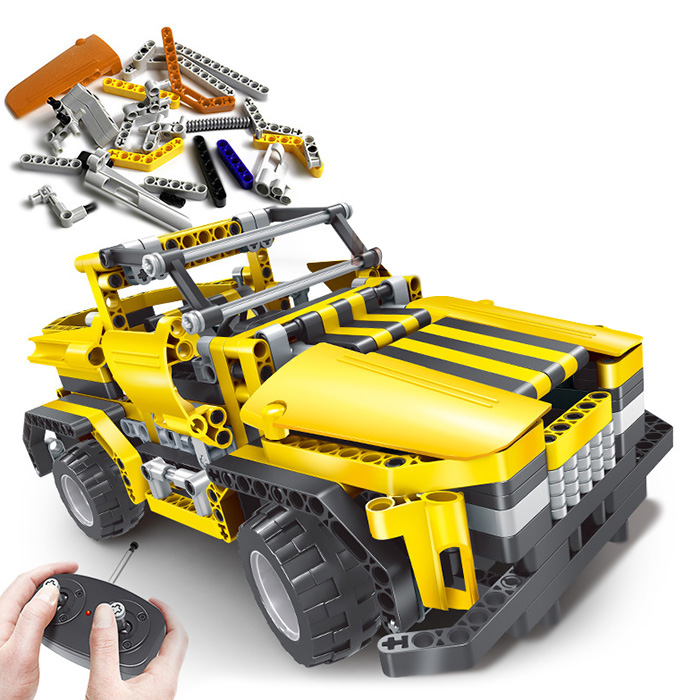 Creative 2 en 1 électrique bricolage assemblé Simulation Cool forme voiture blocs voiture avec télécommande pour les enfants