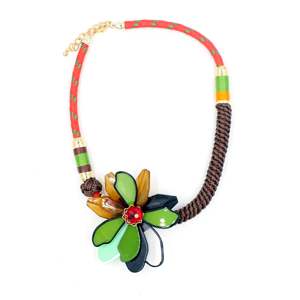 collares Flower necklace acrylic Horsewhip shape fashion jewelry statement necklace 2016 collier Chokers ethnic maxi necklace