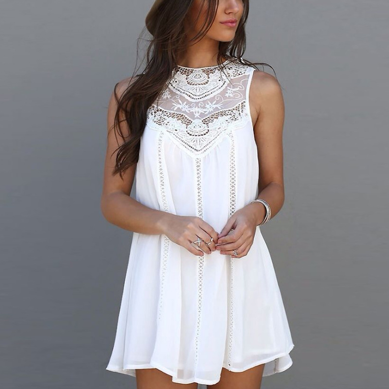 2017 Woman S White Lace Stitching Summer Dress Casual Sleeveless Beach Style Dress Sexy Hollow Out
