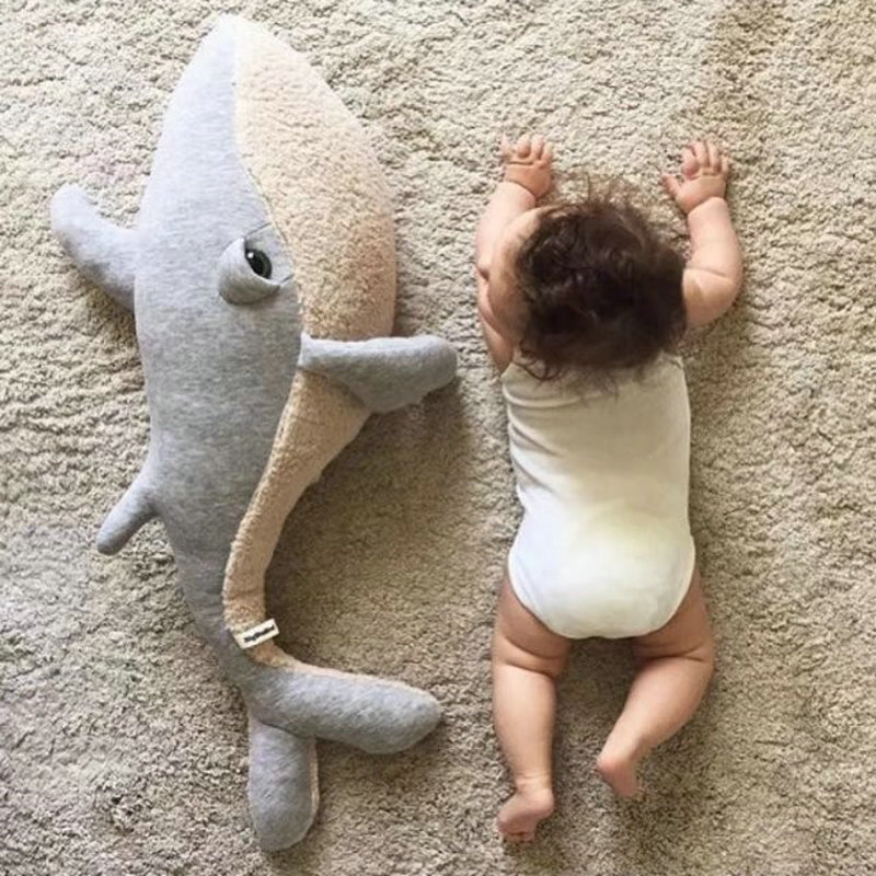 80cm whale plush Toy Stuffed Animals Soft toys Accompany sleep newborn Baby Bedroom Decor for Children gift