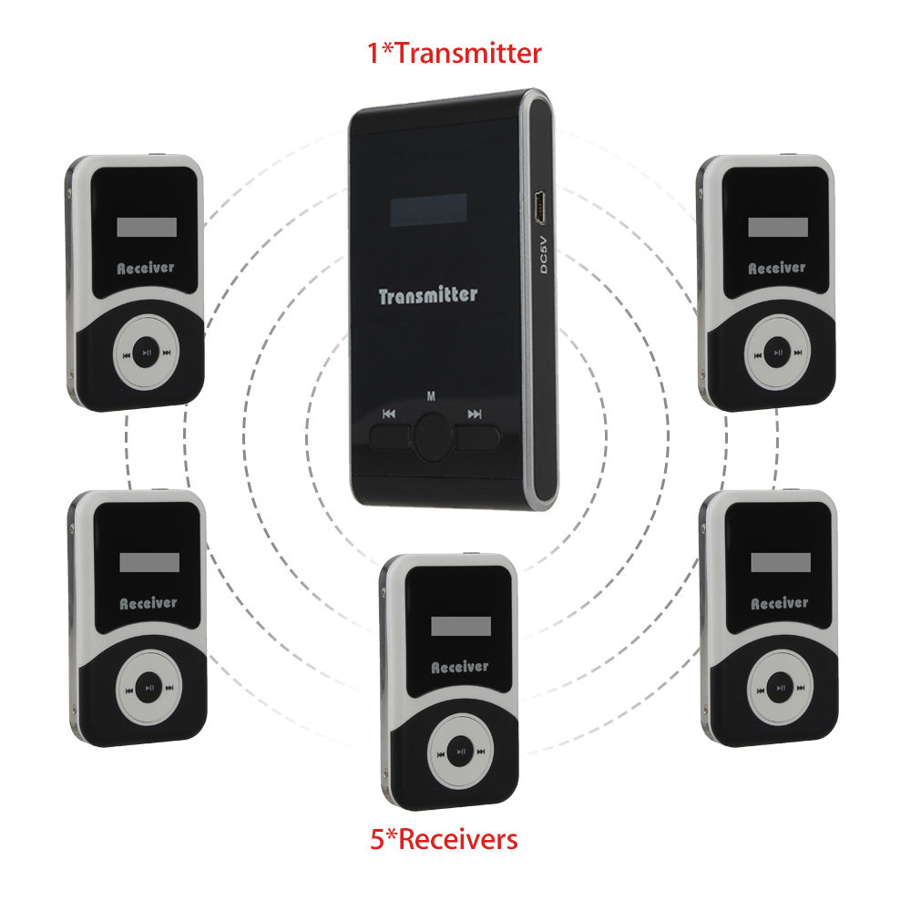 DHL Shipping! ATG100 Wireless 195MHz-230MHz Tour Guide System 1 Transmitter+5 Receiver Wireless Microphone Tour Guide Speaker blueskysea atg100 wireless tour guide system 1transmitter 15 receivers charger for meeting visiting teaching 195 230mhz portable