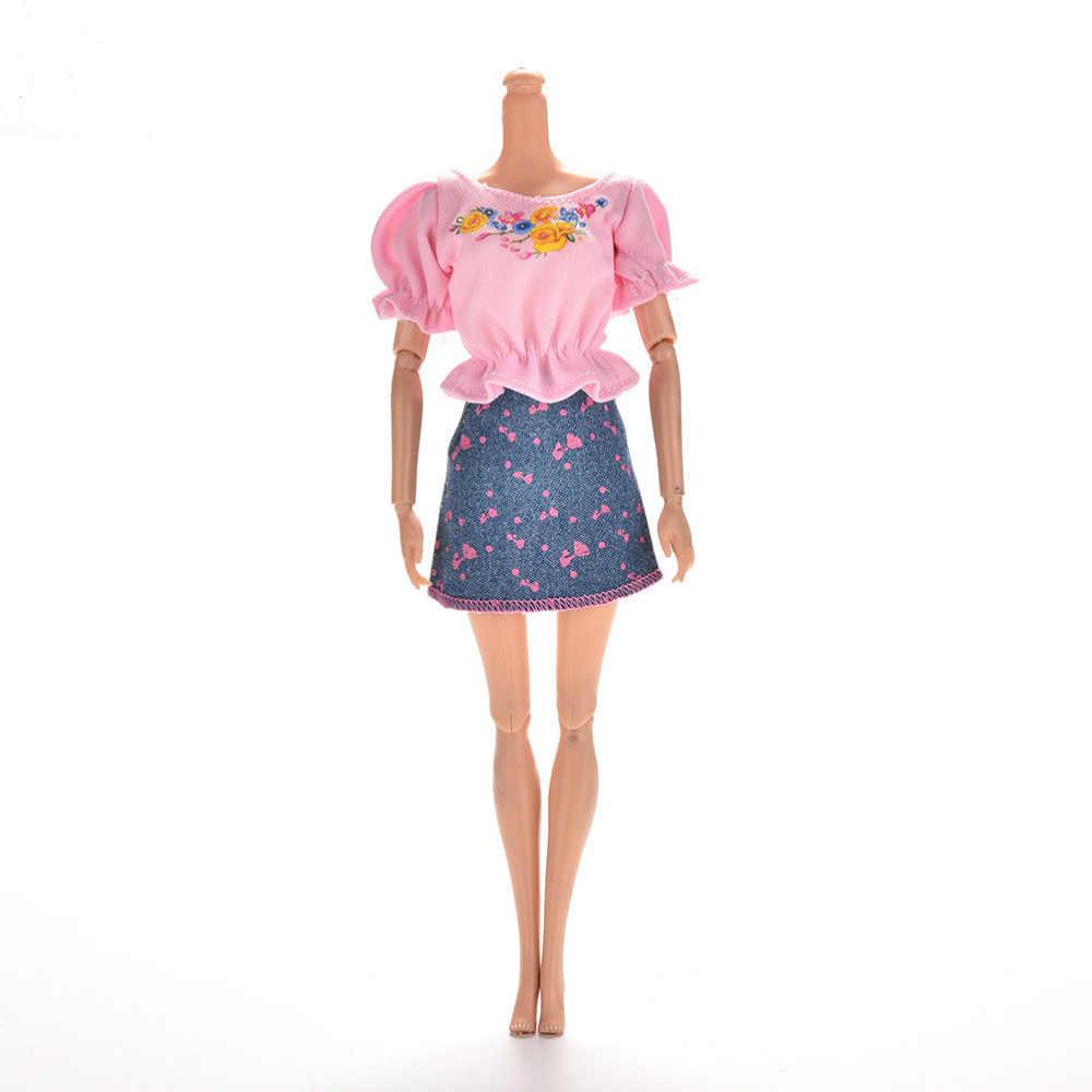 Мини-юбка принцессы из джинсовой ткани для девочек, кукольные комплекты одежды, милое модное летнее платье с короткими рукавами и цветочным принтом, 1 компл.