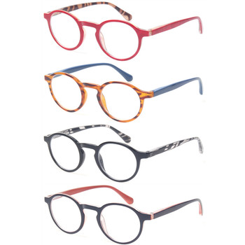 fashion round reading glasses 4 pairs spring hinges colorful eyeglasses frames quality readers mens womens