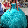 2016 Ruffled Tiered Beaded Pleated Organza Quinceanera Dress Ball Gown with Rhinestones Sweetheart 15 years dresses