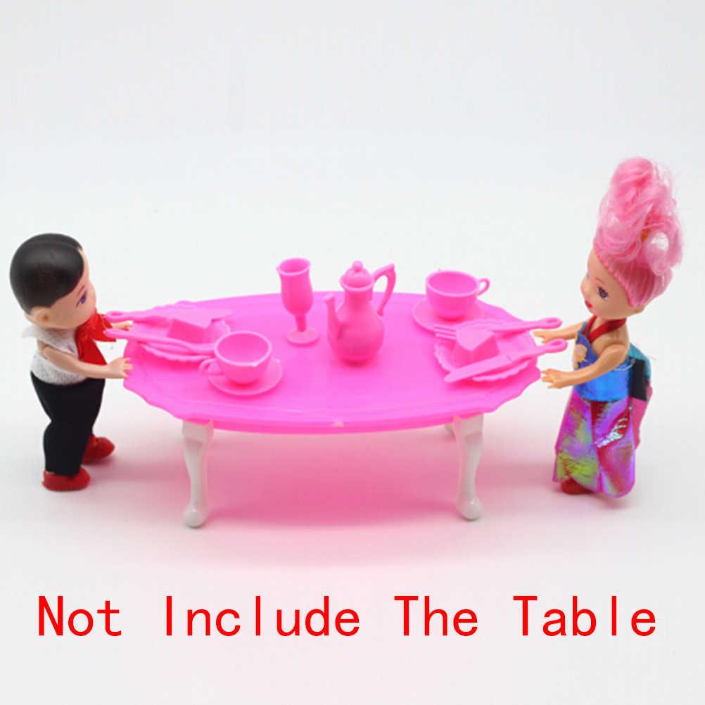 12 יח'\סט ילדה יום הולדת בובת אביזרי GiftDinner שולחן עבור בובת בית להעמיד פנים לשחק צעצועי מתנה
