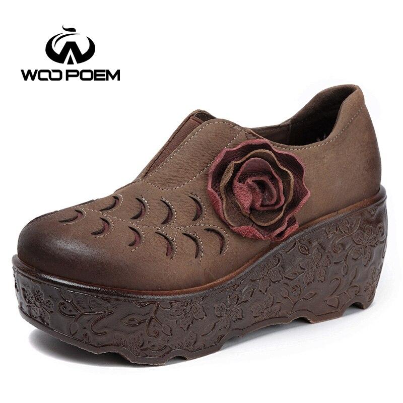 WooPoem Printemps Chaussures Femme En Cuir Véritable Pompes Coins Talons hauts Chaussures Rétro Fleur Femmes Chaussures Plate-Forme Des Femmes Pompes 85001