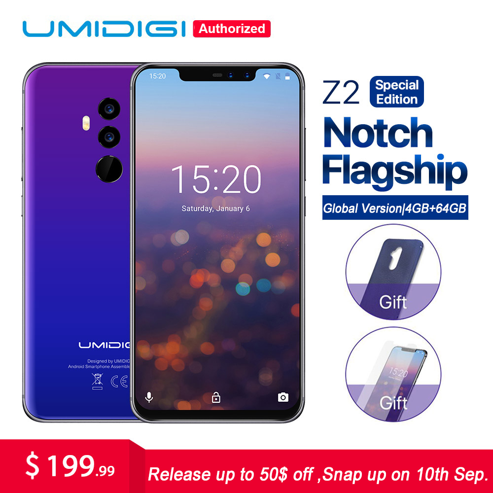 """UMIDIGI Z2 Special Edition Global version 6.2""""FHD+Fullscreen Mobile phone Helio P23 Octa Core 4GB+64GB Android 8.1 4G Smartphone"""
