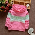 New Sping Autumn Casual Long Sleeved Girls Jackets Rainbow Patchwork Baby infant Outwear Cap Sweatshirts With Hooded S3572