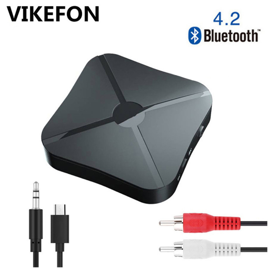 VIKEFON Bluetooth 4.2 Receptor e Transmissor de Áudio Estéreo Música Adaptador Wireless Com RCA Jack de 3.5 MM AUX Para Orador TV PC do carro