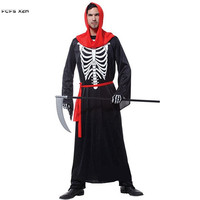 Halloween Skeleton Scary Costumes For Men Azrael Death Hell Devil Demon Cosplays Carnival Purim Masquerade Nightclub party dress