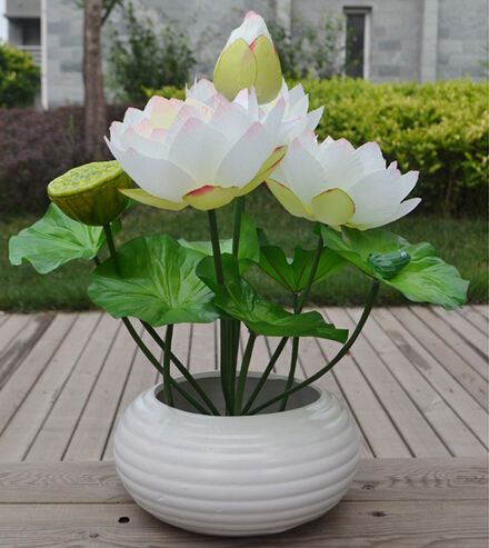 Fake lotus flower bunch 48cm 10pcs simulation water lily 6 colors 7 fake lotus flower bunch 48cm 10pcs simulation water lily 6 colors 7 stems for wedding party mightylinksfo