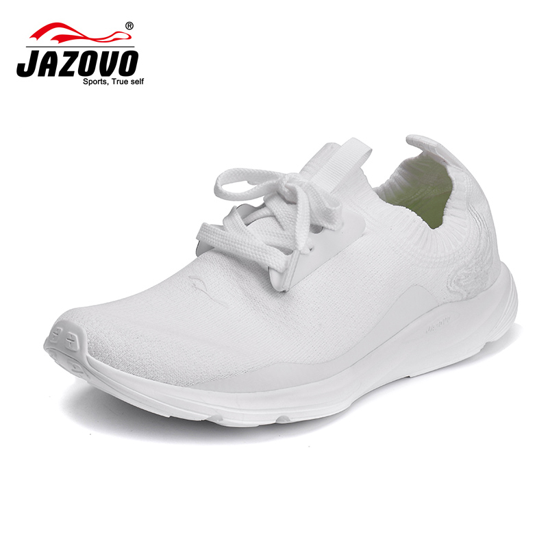 2016 JAZOVO Running Shoes Light Weight Mesh Sports Shoes Black White Jogging Sneakers For Women Outdoor Flat Walking Trend Shoes 2017 women thigh high boots over the knee motorcycle boots winter and autumn woman shoes plus size 4 5 10 5women s boots