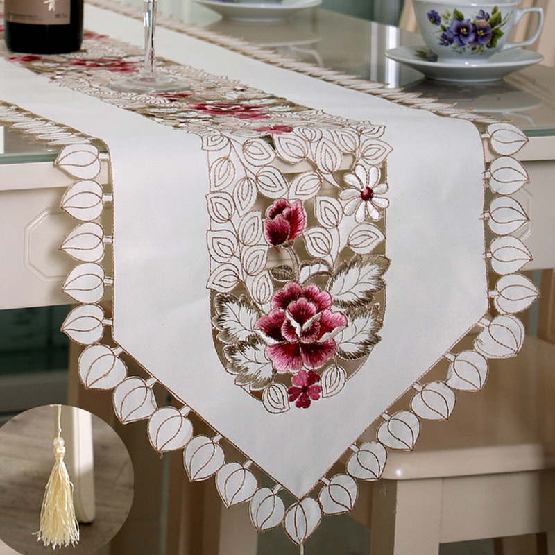 Us 11 42 41 Off Helloyoung Vintage Embroidered Peony Satin Fabric Cutwork Wedding Banquet Table Runner Dresser Scarf 4 Size In Runners From