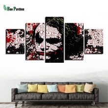 Modern Home Decoration Canvas Print Painting 5 Panel Movie Joker Framed Abstract Wall Art For Living Room Modular Picture