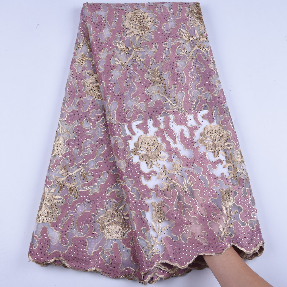 Golden Thread Lace African Net Lace Fabric High Quality French Tulle Lace Fabric Milk Silk Nigerian