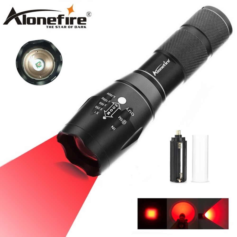 Hearty Alonefire E17 Portable Ultra Bright Handheld Red Light Led Flashlight Zoomable Adjustable Focus Outdoor Water Resistant Torch For Improving Blood Circulation