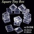 25x18mm Tiny Square Box Clear Plastic Storage for DIY Tool Nail Art Jewelry Accessory beads stones Crafts case container