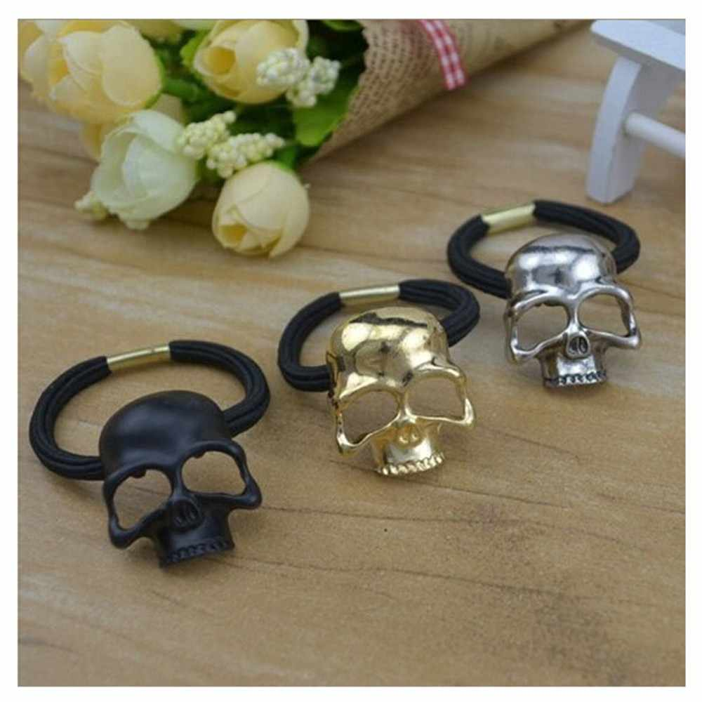New Arrival Fancy Women Fashion Vintage Punk Metal Skull Hairband Halloween Costume Retro three-dimensional skull Hair Rope