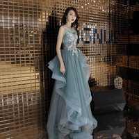 Green Backless Long Stage Show Cheongsam Dress Vestidos Chinos Oriental Qipao Evening Gowns Classic Party Dress Size XS XXL