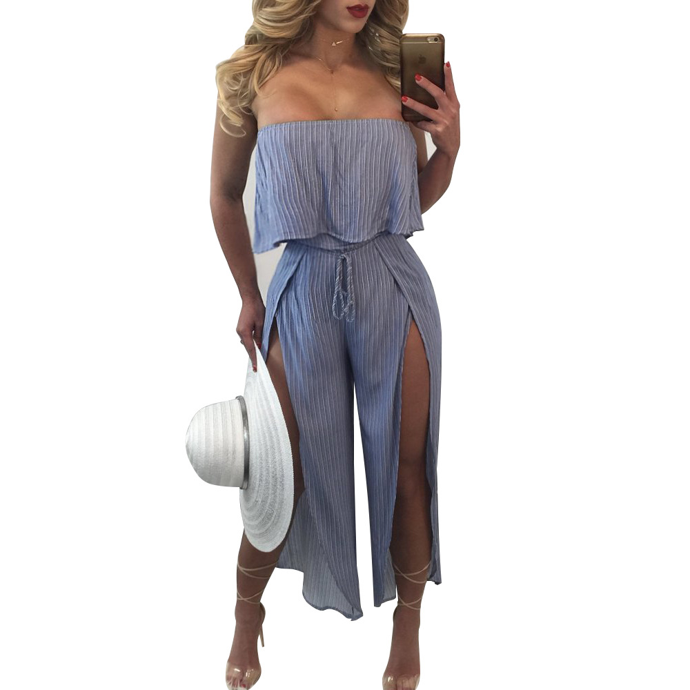 Yuerlian Ruffles Strapless Leotard Slash Neck Off Shoulder Slit Jumpsuits Women Blue Striped Romper 2017 New